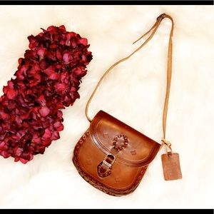 ZARA TRF Cognac Leather Artisan Crossbody Bag
